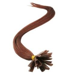Tmavo rudo-hnedé vlasy s keratínom, 50 cm, 25 prameňov (033)