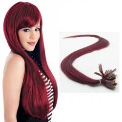 Burgundské vlasy - keratin, 50 cm, 25 prameňov (BG)