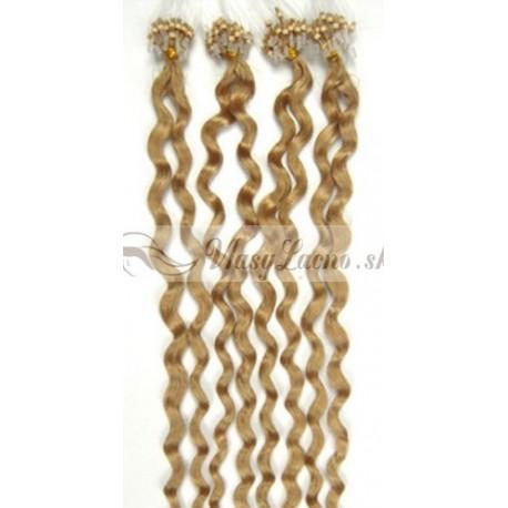 Micro ring, 60 cm 0,7g/pr., 50 ks, kučeravé - prírodná blond