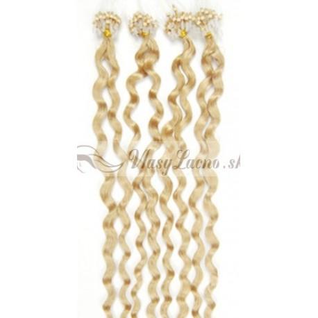 Micro ring, 60 cm 0,7g/pr., 50 ks, kučeravé - najsvetlejšia blond