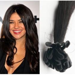 Uhľovo čierne vlasy na predĺženie - keratin, 50 cm, 25 prameňov (001)