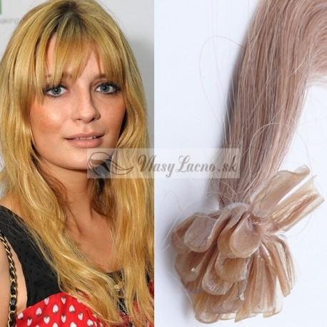 Popolavé blond vlasy na predĺženie - keratin, 50 cm, 25 prameňov (016)