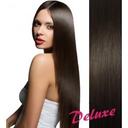 DELUXE najtmavšie hnedé CLIP IN vlasy na predĺženie - 50-53 cm