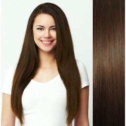 Stredne hnedé vlasy na predĺženie - Clip-in set, 8 ks, 50 cm (004)