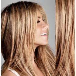 Melírované (prírodná / svetlejšia blond) CLIP IN vlasy na predĺženie - 60-63 cm