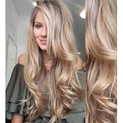 Melírované (platina / svetlo hnedá) CLIP IN vlasy na predĺženie, vlnité - 50-53 cm