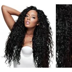 Uhľovo čierne CLIP IN vlasy na predĺženie, kučeravé - 50-53 cm