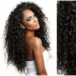 Prírodné čierne CLIP IN vlasy na predĺženie, kučeravé - 50-53 cm