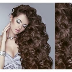 Stredne hnedé CLIP IN vlasy na predĺženie, kučeravé - 50-53 cm