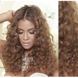 Svetlo hnedé CLIP IN vlasy na predĺženie, kučeravé - 50-53 cm
