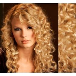 Prírodné blond CLIP IN vlasy na predĺženie, kučeravé - 50-53 cm