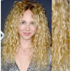 Najsvetlejšie blond CLIP IN vlasy na predĺženie, kučeravé - 50-53 cm