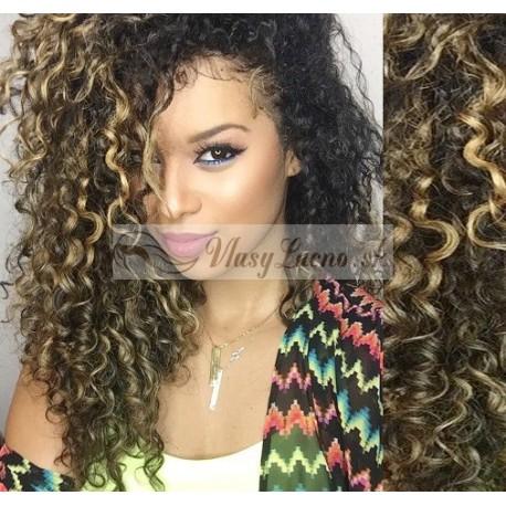 Melírované (tmavý melír) CLIP IN vlasy na predĺženie, kučeravé - 50-53 cm