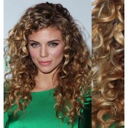 Melírované (svetlý melír) CLIP IN vlasy na predĺženie, kučeravé - 50-53 cm