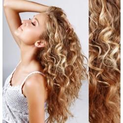 Melírované (prírodná / svetlejšia blond) CLIP IN vlasy na predĺženie, kučeravé - 50-53 cm