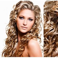 Melírované (platina / svetlo hnedá) CLIP IN vlasy na predĺženie, kučeravé - 50-53 cm
