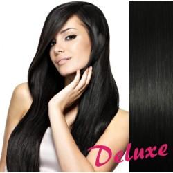 DELUXE uhľovo čierne CLIP IN vlasy na predĺženie - 40-43 cm