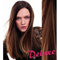 DELUXE melírované (tmavý melír) CLIP IN vlasy na predĺženie - 60-63 cm