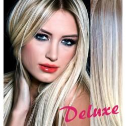 DELUXE melírované (platina / svetlo hnedá) CLIP IN vlasy na predĺženie - 60-63 cm