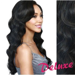 DELUXE uhľovo čierne CLIP IN vlasy, vlnité - 50-53 cm