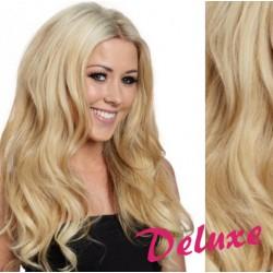 DELUXE najsvetlejšia blond CLIP IN vlasy, vlnité - 50-53 cm