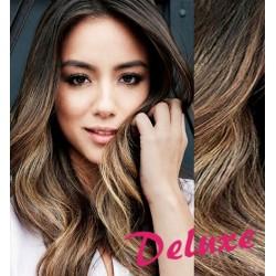 DELUXE melírované (tmavý melír) CLIP IN vlasy, vlnité - 50-53 cm