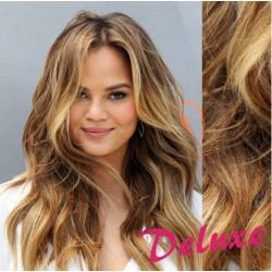 DELUXE melírované (svetlý melír) CLIP IN vlasy, vlnité - 50-53 cm