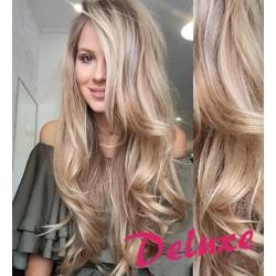 DELUXE melírované (platina / svetlo hnedá) CLIP IN vlasy, vlnité - 50-53 cm