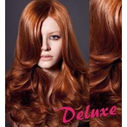 DELUXE medené CLIP IN vlasy, vlnité - 50-53 cm