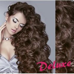 DELUXE stredne hnedé CLIP IN vlasy, kučeravé - 50-53 cm