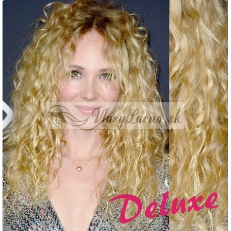 DELUXE najsvetlejšie blond CLIP IN vlasy, kučeravé - 50-53 cm