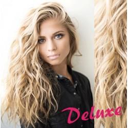 DELUXE platinové blond CLIP IN vlasy, kučeravé - 50-53 cm