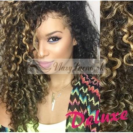 DELUXE melirovane (tmavý melír) CLIP IN vlasy, kučeravé - 50-53 cm