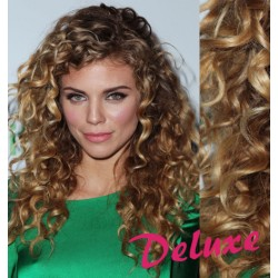 DELUXE melirovane (svetlý melír) CLIP IN vlasy, kučeravé - 50-53 cm