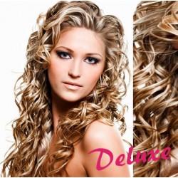 DELUXE melirovane (platina / svetlo hnedá) CLIP IN vlasy, kučeravé - 50-53 cm