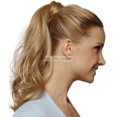 Vlnitý clip-in cop 60 cm, kanekalon - prírodná / svetlejšia blond