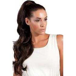 Vlnitý clip-in cop 60 cm, ľudské vlasy - prírodná čierna