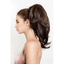 Vlnitý clip-in cop 60 cm, ľudské vlasy - najtmavšie hnedá