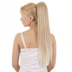 Clip-in vrkoč na štipci 60 cm, kanekalon - platinová blond