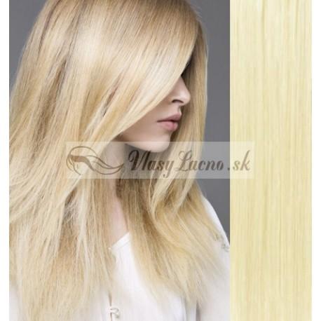 CLIP IN pás 40-43 cm, 100% ľudské vlasy - najsvetlejšie blond