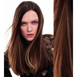 CLIP IN pás 40-43 cm, 100% ľudské vlasy - tmavý melír