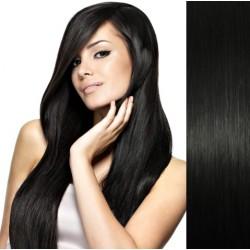 CLIP IN pás 60-63 cm, 100% ľudské vlasy - uhľovo čierna