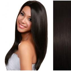 CLIP IN pás 60-63 cm, 100% ľudské vlasy - prírodná čierna