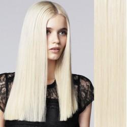 CLIP IN pás 60-63 cm, 100% ľudské vlasy - platinová blond