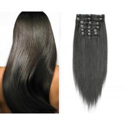 Prírodné čierne vlasy - Clip-in set, 10 ks, 50 cm, Remy, 160G (001B)