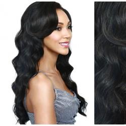 CLIP IN pás 50-53 cm, 100% ľudské vlasy, vlnitý - uhľovo čierna