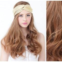 CLIP IN pás 50-53 cm, 100% ľudské vlasy, vlnitý - svetlo hnedá