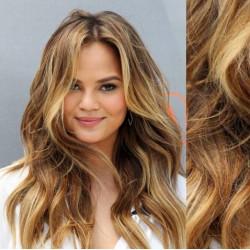 CLIP IN pás 50-53 cm, 100% ľudské vlasy, vlnitý - svetlý melír