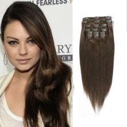 Stredne hnedé vlasy - Clip-in set, 10 ks, 50 cm, Remy, 160g (004)