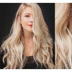 CLIP IN pás 60-63 cm, 100% ľudské vlasy, vlnitý - platinová blond